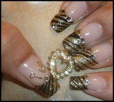 Gold bling bling nail art design.