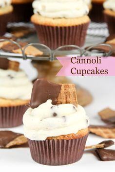 These Cannoli Cupcakes are a dream!! Chocolate Chip cupcakes with a hint of cinnamon topped with ricotta and chocolate chip frosting.