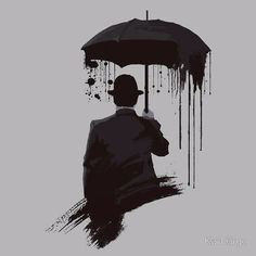 Man holding umbrella black & white art