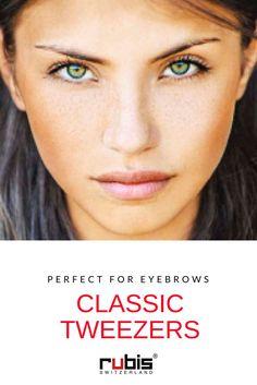 The classic tweezers with slanted tips for eyebrows - Rubis Switzerland