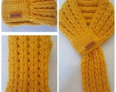 Adjustable Kids or Adults Hand Knit Scarf   Neck warmer in 3 Color with  hand made leather label 25f5fef01a0