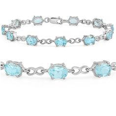 12ct Sky Blue Topaz Infinty Link Tennis Bracelet set in Sterling Silver 7 1/2 inch >>> Review more details here : Jewelry Trends