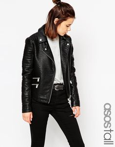 ASOS TALL Textured Biker Jacket With Zip Detail