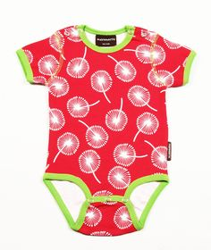 Maxomorra Dandelions Onesie    Funky new baby clothes from one of our favourite Scandinavian brands – Maxomorra!    Bright red short-sleeved baby onesie with all-over white dandelions print. Contrasting green trim, with popper fastenings. Cute, comfortable and long-lasting.    Made from 100% organic cotton.