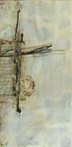 what is she trying to say… encaustic painting by Patricia Baldwin Seggebruch