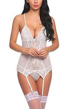8d6e2eeaa1cb2 Sexy Lingerie Garter Belts Bodysuit Lace Teddy Babydoll Bustier Set