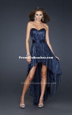 La Femme 17334 - Navy blue hi-low prom dress with sequins.