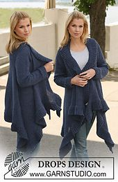 """Ravelry: 121-1 Jacket knitted from side to side in 2 strands """"Alpaca"""" pattern by DROPS design"""
