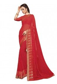 Well-formed Red Color Georgette Saree by Vishal Prints