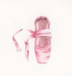 Watercolor Painting, Original, 6x6 - BALLET SHOE