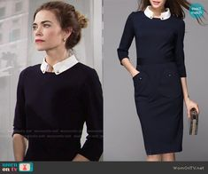 Victoria's navy dress with front pockets and white collar on The Young and the Restless.  Outfit Details: https://wornontv.net/65645/ #TheYoungandtheRestless