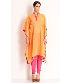 Manish Arora An Orange Self Printed Kaftan With Striking Contrast Piping., http://www.snapdeal.com/product/manish-arora-orange-cotton-kaftan/1337119463