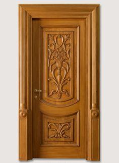 "LUIGI 4014/QQ/INT.  with type ""F"" pillar coated light oak, with carved front panels Luigi XVI© Classic Wood Interior Doors | Italian Luxury Interior Doors | New Design Porte Emotions"