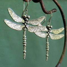 Dragonfly Earrings larger sterling silver by BobsWhiskers