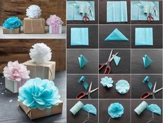 Here is this great idea is very simple and easy to create at home you can follow easy steps and make itPaper Flower for Gift Packing at home, check out mo