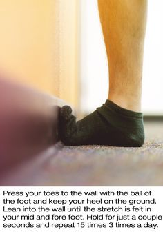 1101016ee83139 Plantar fasciitis toe stretch to relieve pain  Place toes against the wall  with the ball
