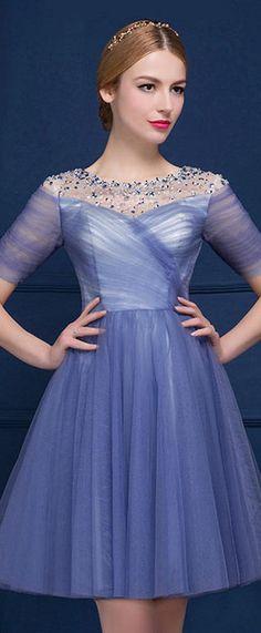 robe de soirée courte bleu à manche courte
