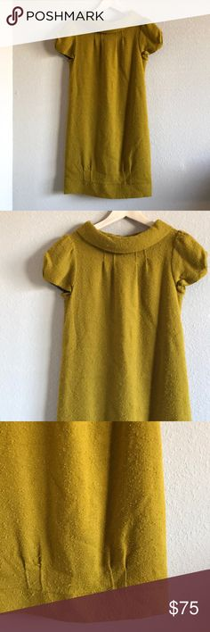 Milly New York Wool Mustard Dress Beautiful and major Blair Waldorf vibes! 70% Wool. 18% polyamide. 11% viscose. 1% elastane. 17.5 pit to pit. 33 inches length. Lined. Hook is missing but you can still Zip the dress up without noticing. No major flaws. Excellent used condition. Milly of New York Dresses