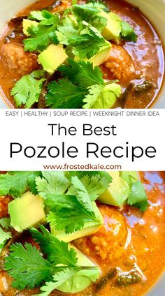 This easy Pozole recipe is one of my favorite soup recipes! This easy weeknight dinner recipe is a 30-minute meal that tastes like it simmered all day! This healthy soup recipe is family friendly and loaded with healthy ingredients like kale and turkey meatballs! A low-fat meal you can feel good about!  #pozolerecipe #posolerecipe #pozolerojo #souprecipes #souprecipeshealthy #soups #weeknightdinner #weeknightdinnereasy #weeknightmeals