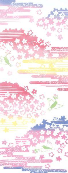 Japanese Tenugui Cotton Fabric, Sakura in Hazy, Floral Fabric, Spring Art Design, Hand Dyed Fabric, Art Wall, Home Decor, Gift Idea, JapanLovelyCrafts