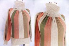 Pin Up Striped Sweater Sz S Turtleneck Vintage 80s Wool Blend BOHO Hippie