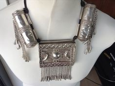 Ethiopian/Ogadin silver amulet necklace, 2 scroll holders and one large box which opens up like a drawer in an open worked box. collected in Ethiopia in the Ethiopian Jewelry, Picture Credit, Bridal Necklace, Drawer, Jewellery, Jewels, Antiques, Pendant, 1980s
