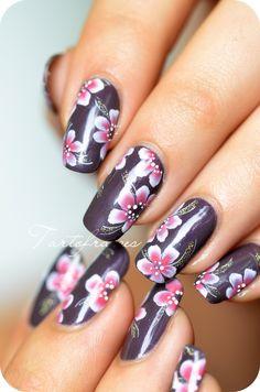 tartofraises one stroke flower nail art