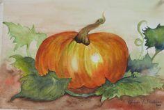 Pumpkin watercolor a study by Kathleen Friedman