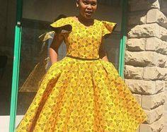 Robe évasée, robe jaune, vêtements imprimé africain, robe Ankara, mode africaine