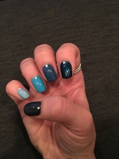 Blue Ombre Nails Blue Ombre Nails, My Nails, Beauty, Beauty Illustration