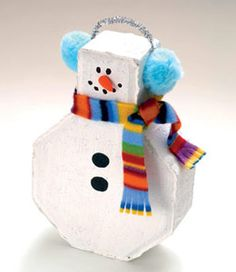 Frosty the Doorstop - Use a brick and acrylic paint. #tutorial