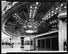 The ornate overhang of the Wiltern Theater entrance, Western and Wilshire, 1931.