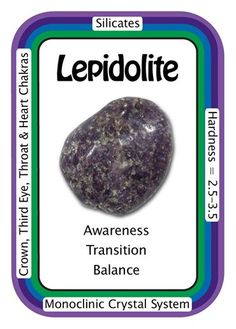 "Crystal Card of the Day: Lepidolite, ""I am emotionally balanced and filled with inner peace.""   Known as ""the stone of transition"", Lepidolite helps shift and restructure old energy patterns and brings light and hope to a situation. Lepidolite works with all of the chakras, especially the Heart, Third-Eye, and Crown Chakras. Lepidolite crystals can help you open up to receiving higher vibrations from the higher realms into the subconscious."