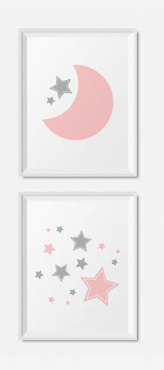 Modern Pink And Gray Nursery Decor, Moon And Stars Nursery Wall Art Prints, DIY Baby Girl Nursery Printables