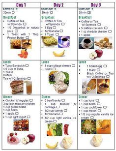 3 day diet checklist