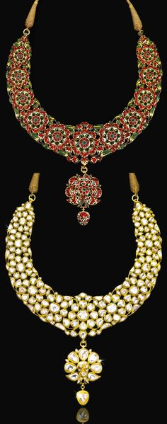 North India | Diamond and enamelled gold parade necklace (Khanti) with hanging pendant in the form of a stylised peacock | ca. 1850 - 1875 | Est.  80'000 - 120'000 ~ (Sept '14)