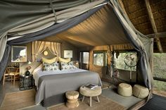 Tanda Tula Safari Camp consists of 12 private, luxury tents. The East African styled tents are the epitome of elegance, comfort and style, mirroring the early tented camps of Africa Luxury Tents, Luxury Camping, Attic Renovation, Attic Remodel, Tanda Tula, Camping Con Glamour, Cabana, Tent Living, Gazebos