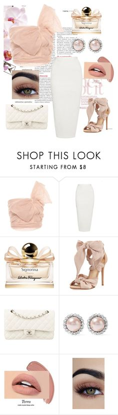"""""""Gentle as a flower."""" by jelena-bozovic-1 ❤ liked on Polyvore featuring RED Valentino, Rick Owens, Salvatore Ferragamo, Alexandre Birman, Chanel, Miu Miu and Forever 21"""