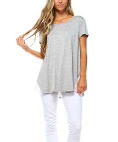 Love this Heather Gray Lace-Panel Swing Top by TEN 6 TEN on #zulily! #zulilyfinds