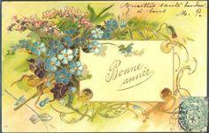 HF086-ART-NOUVEAU-Bonne-annee-MYOSOTIS-FANTAISIE-Gaufree-RELIEF