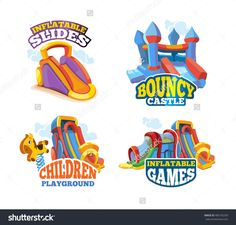 vector illustration set of color emblems with toys for games on inflatable playground. advertise labels with place for your text. pictures isolate on white background. Playground Games, Text Pictures, Flat Style, Photo Illustration, Cool Words, Royalty Free Stock Photos, Toys, Dslr Cameras, Color