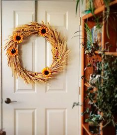 Sunflower Wreath, Kansas Wreath, Wheat Wreath, Wreath, Sunflower, Wheat, Cottage Chic, Country Western Wreath