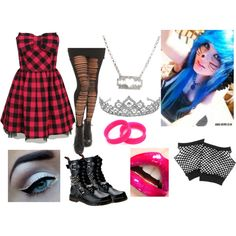 the dress, tights and boots Cute Emo Outfits, Pastel Goth Outfits, Scene Outfits, Punk Outfits, Gothic Outfits, Cosplay Outfits, Pretty Outfits, Batman Outfits, Queen Outfit