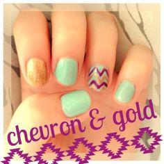Mint, gold, & violet chevron DIY