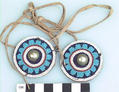 Culture/People:Kiowa Object name:Ornament Date created:1800-1900 Place:Oklahoma; USA Media/Materials:Hide, metal tacks/bosses, glass bead/beads, hide thong/babiche Techniques:Overlay beadwork, studded, tied Collection History/Provenance:Collected by Mark Raymond Harrington (1882-1971, MAI staff member) in 1909 during fieldwork sponsored by George Heye. Catalog number:2/2327