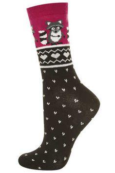 Fairisle Racoon Ankle Socks