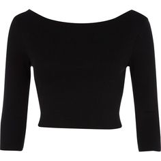 River Island Black 3/4 sleeve crop top (€6,28) ❤ liked on Polyvore featuring tops, shirts, crop tops, blusas, crop shirts, cotton crop top, 3/4 sleeve crop top, summer tops and boat neck shirt