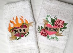 His & Hers Tattoo Embroidered Towel Set  FREE by TwistedStitches13