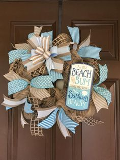 Summer wreath, summer deco mesh wreath, summer mesh wreath, burlap wreath, beach wreath, beach mesh wreath, burlap mesh wreath, front door wreath, wreaths for the front door, summer front door wreath, summer wreaths for the front door, home decor, summer, Mother's Day gift, Mother's Day gift ideas, wedding present, housewarming, wedding, diy