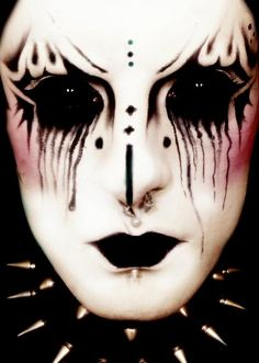 Image result for black and white halloween makeup